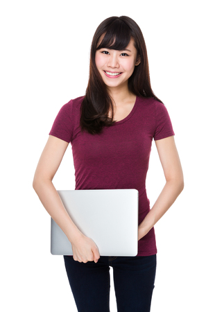 asian youth: Young Woman hold with laptop computer Stock Photo