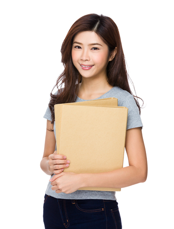 asian office lady: Woman hold with folder Stock Photo
