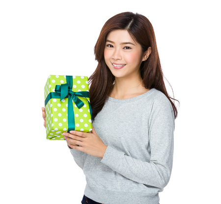 sweatsuit: Young Woman hold with present box Stock Photo