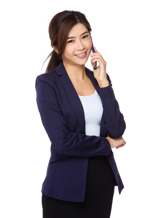 telephone saleswoman: Asian Young businesswoman talk to cellphone Stock Photo