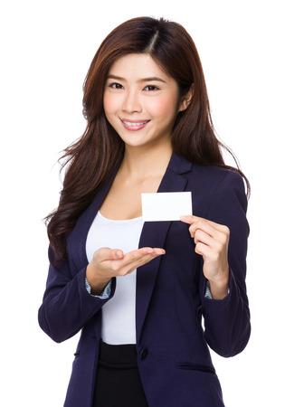 namecard: Businesswoman show with namecard Stock Photo