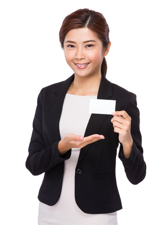 namecard: Businesswoman show with blank namecard