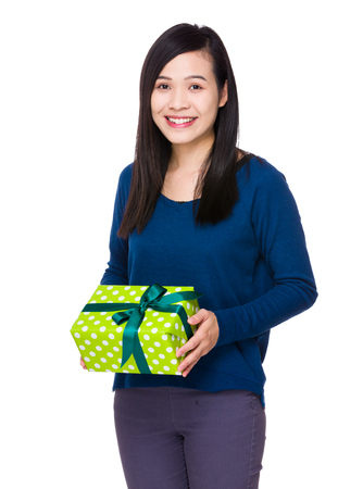 sweatsuit: Woman hold with present box