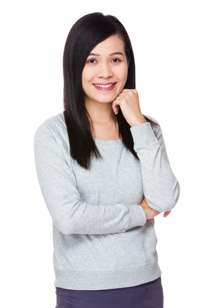 lean on hands: Woman portrait Stock Photo