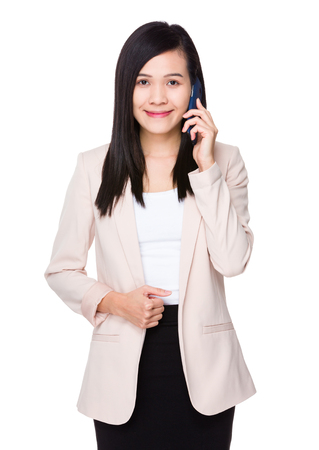 telephone saleswoman: Asian Young Businesswoman talk to cellphone