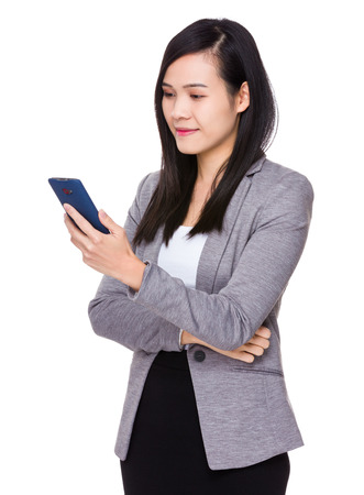 telephone saleswoman: Asian Young Businesswoman use of the cellphone