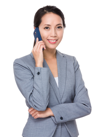 telephone saleswoman: Businesswoman chat on the mobile phone