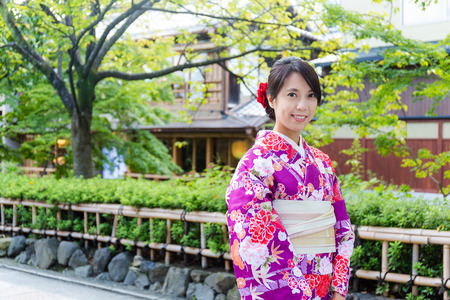 tradional: Woman with japanese tradional costume in Kyoto, Gion
