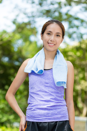tracksuit: Asian woman with tracksuit at park Stock Photo