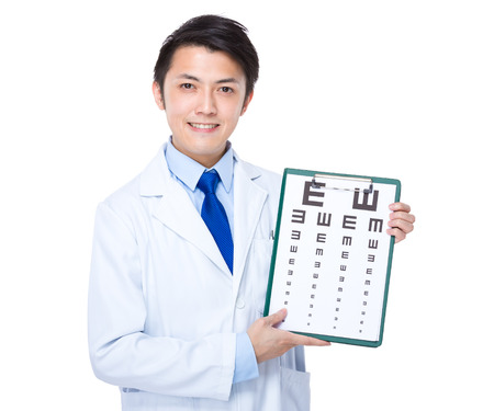 optician: Optician with eye char