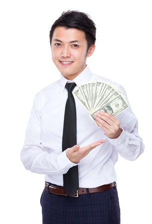 usd: Businessman show with USD