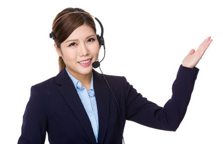 hot secretary: Customer services operator with open hand palm Stock Photo