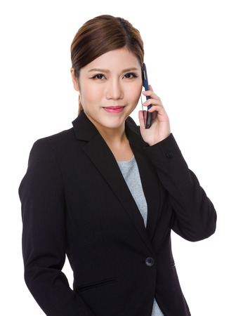 telephone saleswoman: Young Businesswoman talk to mobile phone