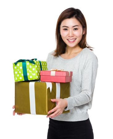 sweatsuit: Woman hold with lots of present box