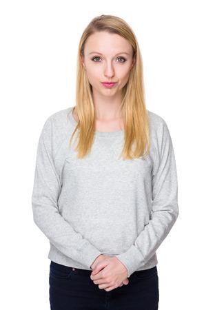 sweatsuit: Caucasian young woman Stock Photo