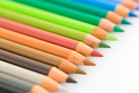 obsessive compulsive: Colourful pencil isolated on white Stock Photo