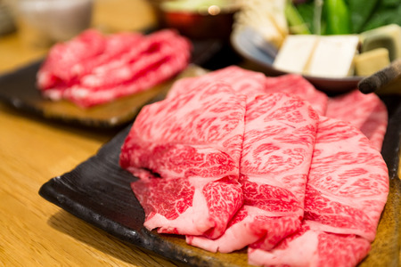 Fresh beef sliced for japanese hot pot