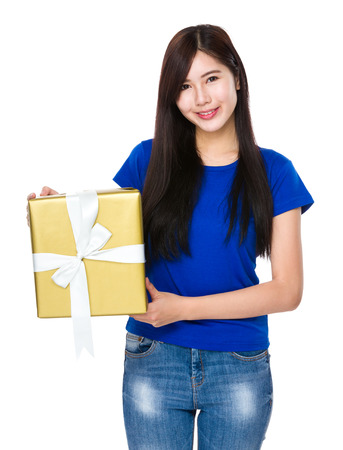 casual wear: Asian woman holding a big present box Stock Photo