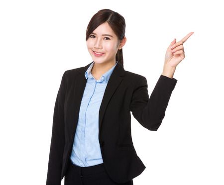 korean woman: Businesswoman with finger point up