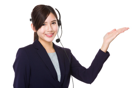 corporate women: Customer services representative with open hand palm