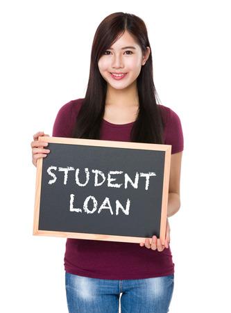 student loan: Asian woman with chalkboard showing phrase student loan