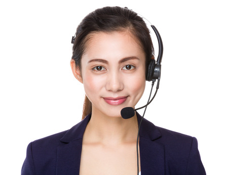 hotlink: Asian businesswoman with headset Stock Photo