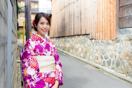 korean style house: Woman with kimono dress in Kyoto