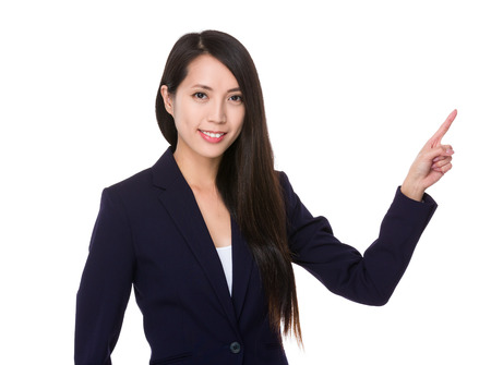 sales promotion: Businesswoman with finger point up