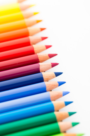 chromatic colour: Group of Colour pencils isolated on white Stock Photo
