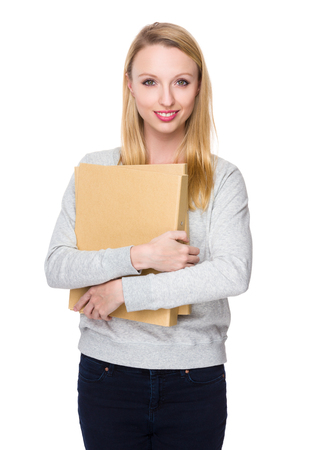 sweatsuit: Young Woman hold with folder Stock Photo