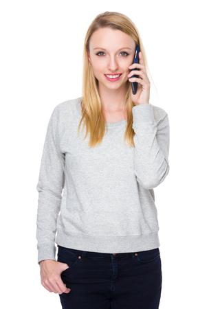sweatsuit: Woman talk to cellphone