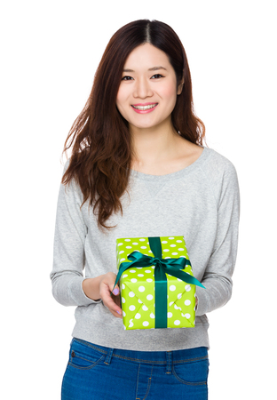sweatsuit: Asian Young Woman hold with present box