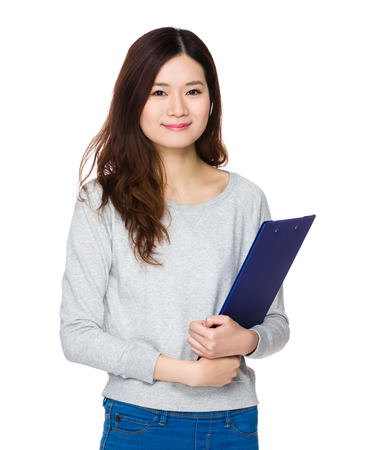 sweatsuit: Asian woman hold with clipboard