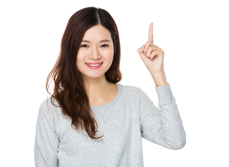 sweatsuit: Young Woman showing finger point up