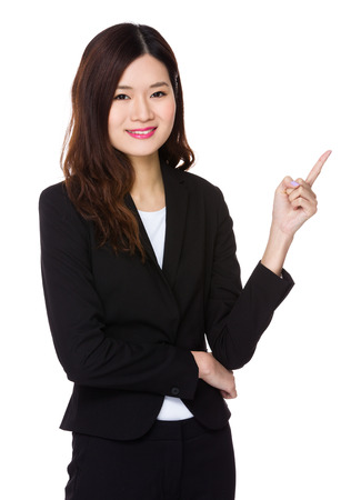 Asian Businesswoman with finger up Stock Photo