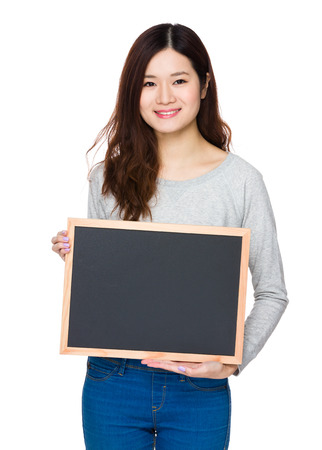 sweatsuit: Asian Young Woman show with chalkboard