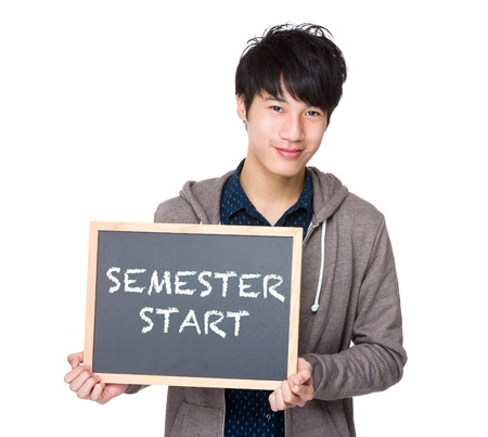 phrases: Asian young student with blackboard showing phrases of semester start