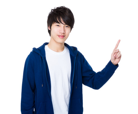 Asian Young Man with finger point up