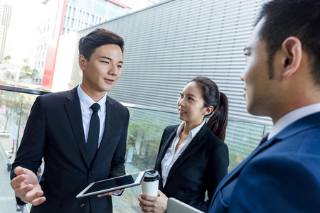 manager team: Business people discuss about the project at outdoor Stock Photo