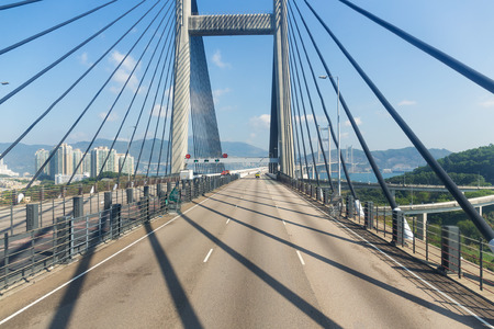 though: Passing though the Suspension bridge in Hong Kong