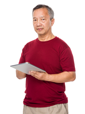 Old man learn to use of tablet photo