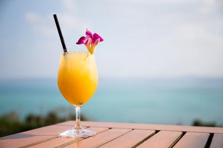 outdoor restaurant: Orange juice in outdoor restaurant Stock Photo