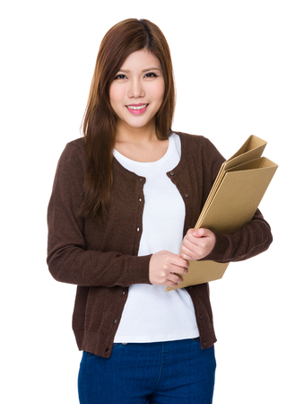 Woman hold with document work Stock Photo