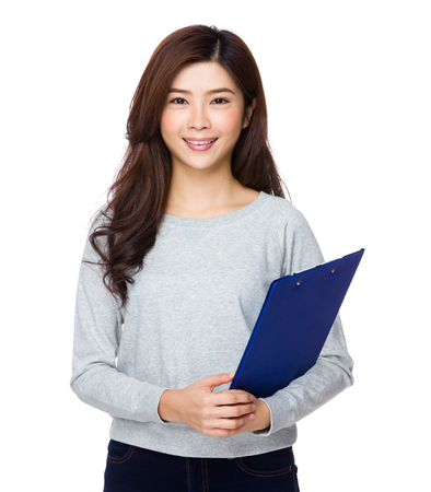 sweatsuit: Woman hold with clipboard