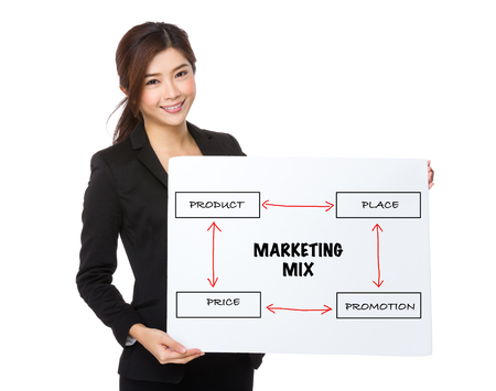 4p: Asian businesswoman holding a poster presenting business mix concept