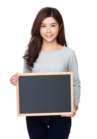 sweatsuit: Woman show with chalkboard