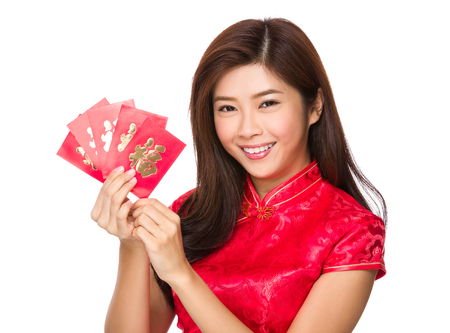 Young chinese woman hold with red pocket