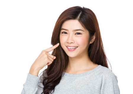 sweatsuit: Asian Young Woman with finger point up her teeth