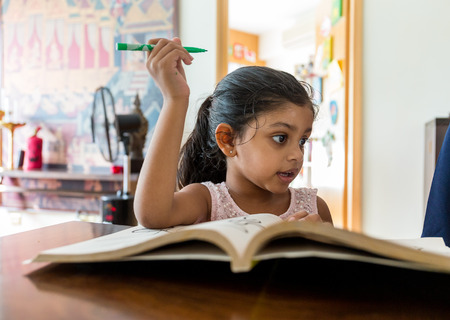 art book: Indian girl reading book at home Stock Photo