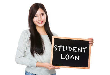 show bill: Young woman hold with chalkboard showing phrase student loan